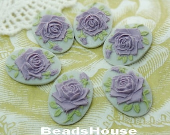 90s-DG-CA 6pcs(13x18 mm) Beautiful Oval Rose Cameo- Purple on Grey