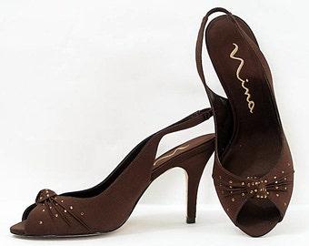 Vintage 1980s High Heels Brown Satin Amber Rhinestone Peep Toe Heels Shoes / U.S. 7M