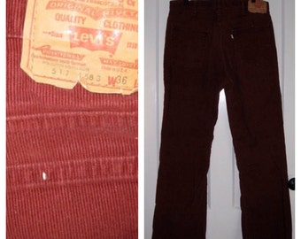Vintage Levi's 517 36X31 Red Rust Corduroy Mens 1970's Boot Cut Jeans Talon 42 Zipper
