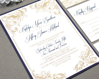 scroll wedding invitations purple and gold wedding invitation suite victorian wedding pocket invite set