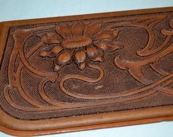 Antique Art Nouveau Hand Tooled Leather Desk Blotter End WAS 110.00