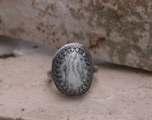 Natural Tree Agate Semi Precious Gemstone Sterling Silver Metal Smith Boho Earthy Rustic Woodland Statement Ring