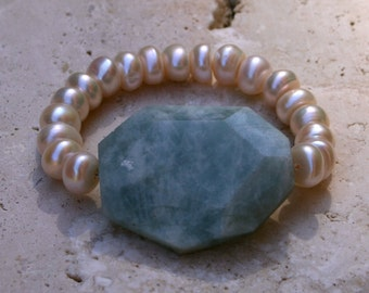 Amazonite Freshwater Pearl Gemstone Green Stacked Beach Wedding Elegant Statement Bracelet