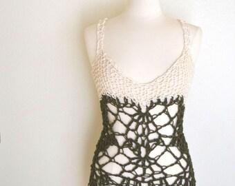 Knit Crochet Tank Top Pattern Boho Hippie Mesh Lace Halter Top PDF DIY Small Medium