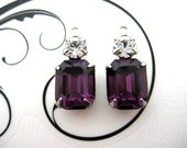 10x8 Swarovski Amethyst Purple Machine Cut Octagon and 20ss Crystal Clear Round Rhinestone in Silver Double One Ring Setting 1 Pair