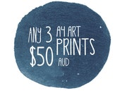 "3 Art Print Set, A4 or 8x10"" in size - 3 Pack - Discount - by Honey Cup"