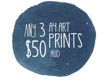 """3 Art Print Set, A4 or 8x10"""" in size - 3 Pack - Discount - by Honey Cup"""