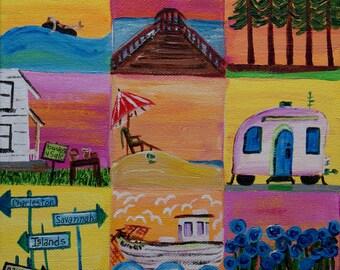 Original acrylic painting, Charleston SC, Beach art, ocean art, beach painting, camping art, home decor painting