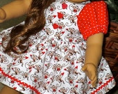 18 Inch Doll Red and Brown Monkey and Heart Print Dress and Matching Panties by SEWSWEETDAISY