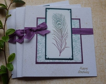 GREETINGS CARDS  ( pack of 3 , mixed greetings ) ' Peacock Feather ' .UK seller...  ready to ship..