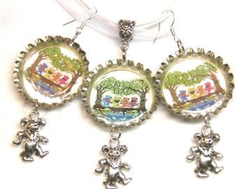 Grateful Dead Necklace and Earrings, Sterling Silver and Pewter Dancing Bears Tie Dye Deadhead Grateful Dead Jewelry, Hippie Earring OOAK #4
