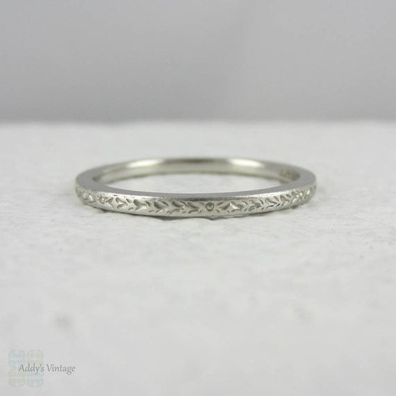 Art Deco Platinum Wedding Ring Engraved Wedding Band With By Addy