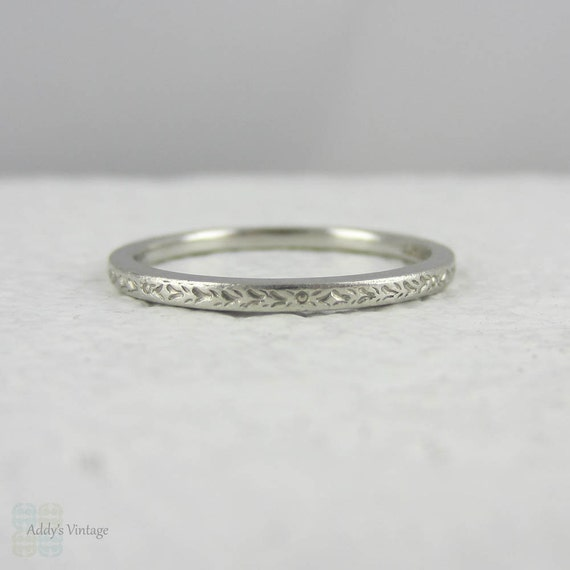Platinum 2mm Hand Engraved Wedding Band With Milgrain: Art Deco Platinum Wedding Ring. Engraved Wedding Band With