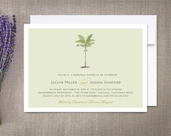 Palm Tree Plantation Rehearsal Dinner Invitation