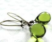SALE Jewelry, Earrings, Drop Glass Dangle Earrings, Lime Green Glass Earrings, Autumn Earrings Accessories, Gift for Her, Jewelry, Gift Box