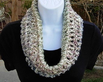 SUMMER COWL SCARF, Off White Purple Blue Pink, Small Short Infinity Circle Loop, Crochet Knit Necklace, Ready to Ship, Large Size Available