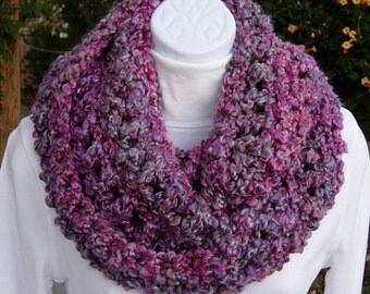 INFINITY SCARF Loop Cowl Bright Pink, Purple, Gray Grey, White Large Thick Bulky Soft Winter Handmade Crochet Knit..Ready to Ship in 3 Days
