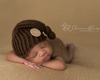 Chocolate Brown Newborn Knit Pixie Hat Photography Prop