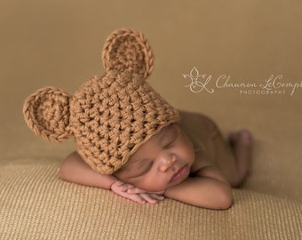 Camel Beige Teddy Bear Hat Newborn Photography