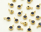 SV-112-GD / 2 Pcs - New Tiny Round CZ Charms (Capri Blue), 16K Gold Plated over 925 Sterling Silver / 3.6mm x 5.6mm
