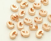 IN-262-RG / 2 Pcs - Initial Tiny Pendant, Alphabet, Lower Case, Small Letter, c, Rose Gold Plated over Brass / 5mm x 6mm