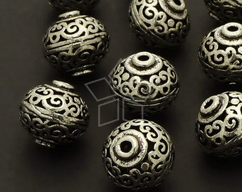 ME-138-AS / 2 Pcs - Hollow Carved Beads (Persian Pot), Antique Silver Plated over Brass / 12mm