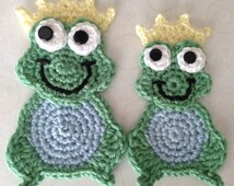 Frog Crochet PATTERN Prince Charming Applique Instant Download