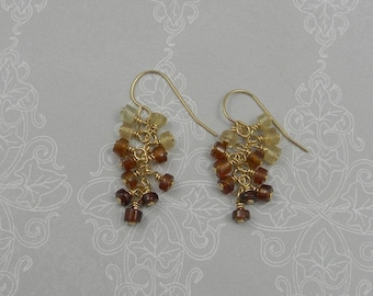 Hessenite wire wrapped beads on 14k gold filled chain and earwires