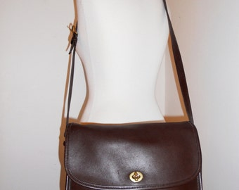 Vintage Coach Dark Chocolate Brown Leather Purse Shoulder Bag