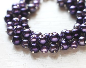 Purple Bridesmaid Jewelry Deep Dark Purple Pearl Cluster Bracelet - For Purple Weddings