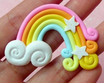 Rainbow Cabochon w/ Cloud and Star (1pc) 50mm x 36mm Kawaii Polymer Clay Cabochon Colorful Cell phone Deco Decoden Scrapbooking CAB239