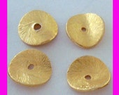 20x 8mm gold plated sterling silver potato chip curved brused texture round disk spacer VS38