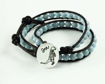 Your Childs Drawing on A Beaded Wrap Bracelet Boho Chic