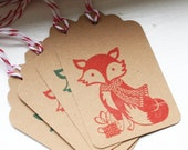 Winter Fox Gift Tags - Ten Tags, Red and Green with Baker's Twine, Fox, Red Fox, Stamped Gift Tags, Stamped Tags, Stamped Christmas Tags