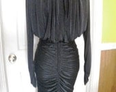 Ruched Black Nylon & Rhinestone Disco Dress - Small