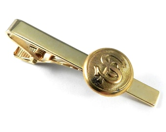 Men's Steampunk Industrial Tie Clip - Antique Southern Pacific Railroad Button - Gold Brass