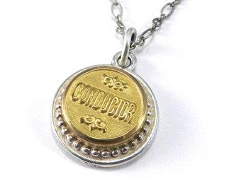 CONDUCTOR Necklace, Antique Train Button Necklace, RAILROAD Uniform Button Pendant, TRAVEL Train Adventure Jewelry