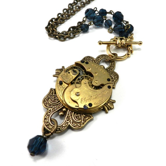 STEAMPUNK Necklace - Luxe OOAK Ornate Special Occasion, BLUE Crystal Victorian Vintage Bridal, Steampunk Wedding
