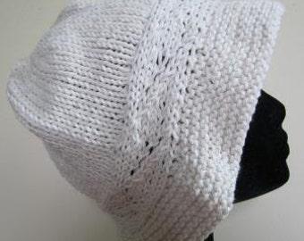 Ladies Bucket Hat Cloche Hand Knit Floppy Natural Vintage Retro Beach Summer - Size Medium