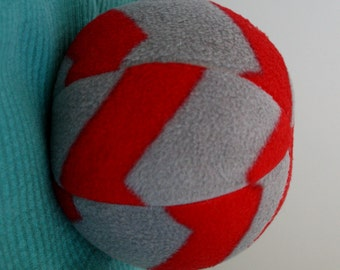 Dog Toy Ball Extra Large Gray and Red Chevron- big dog toy, squeaky toy, squeaker, fleece, soft, Great Dane, chew toy, catch, inside toy