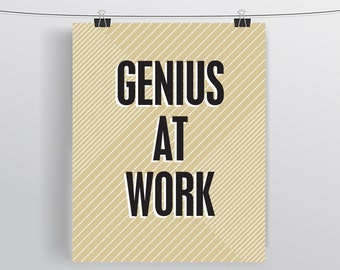 Genius Inspirational Typographic Print Office Decor Desk Accessories - Gift for Co Workers Gift For Boss