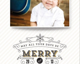 Merry & Bright Vintage Christmas Holiday Photo Card