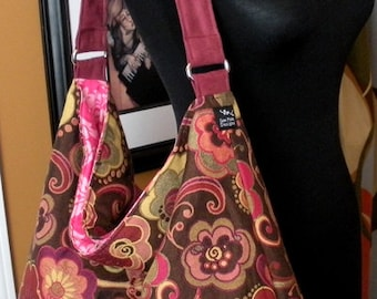 Ready To Ship Retro Funky Flowers Brown Pink Purple Yellow Tapesty Fabric Slouchy Purse Shoulder Everyday Toddler Tote Diaper Bag Foxtrot