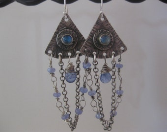 Rainbow Moonstone and Tanzanite Chandelier Earrings