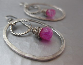 Sterling Silver Hoop Earrings with Pink Moonstone