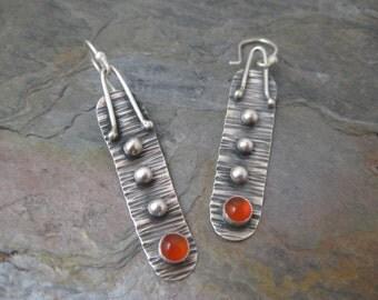 Bright Orange Carnelian and Sterling Silver Handmade Earrings