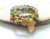 African seed bead bracelet cuff-Maasai bracelet cuff