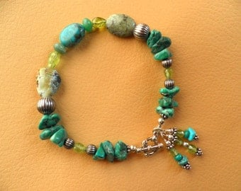 Genuine TURQUOISE PERIDOT and SILVER Beaded Original Design Bracelet with Three Dangles