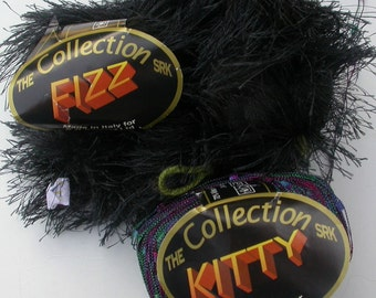 DIY Fun Fur Scarf Kit with SR Kertzer Fizz Black Eyelash Yarn and Kitty Multi Color Railroad, Trellis Yarn, Make it for a Mother's Day Gift!