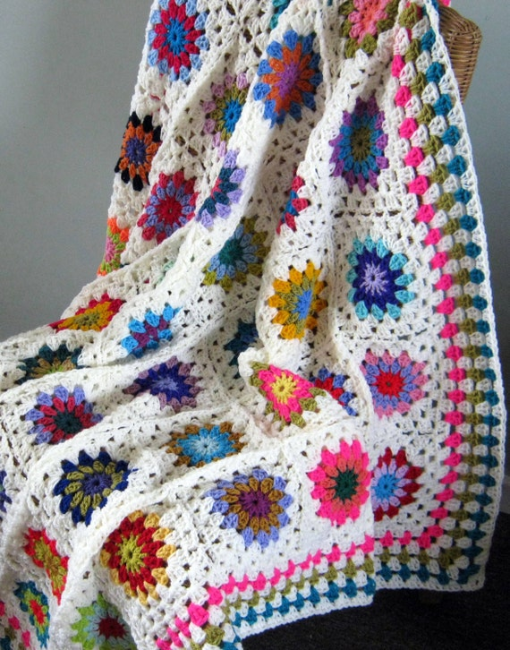 "Sale 25% Off Crochet Afghan Blanket Granny Squares 50"" x 50"" In Stock Ready to Ship"